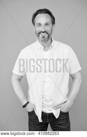 Explore Your True Style. Happy Man In Casual Style Grey Background. Trendy Fashion. Everyday Wardrob