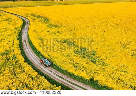 Aerial View Of Car Suv Parked Near Countryside Road In Spring Field Rural Landscape. Flowering Bloom