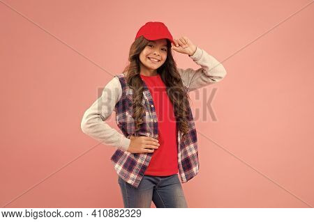 Not Stereotypes. Little Hipster Wear Cap Pink Background. Hipster Look Of Small Girl. Happy Child In
