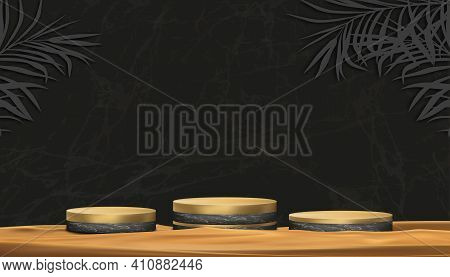 Podium Display Of Black Marble And Yellow Gold Cylinder Stand On Sand Beach,vector Realistic 3d For