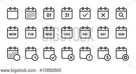 Calendar Isolated Line Icons. Collection Of Line Calendar Organizer Icons. Web Icons Organizer Signs