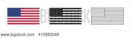 Usa Flag. Vector Isolated Flags Icon Or Signs. United States Of America Symbols Or Signs. Usa Isolat