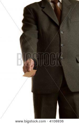 Businessman Gives Blank Card
