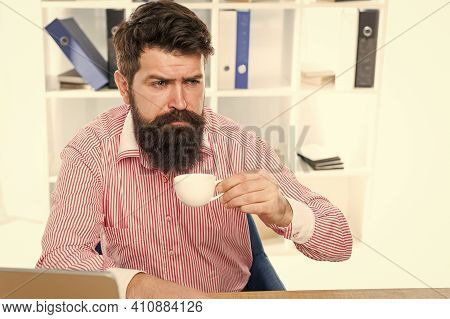 Getting Hot Drink. Tired Employee Drink Coffee In Workplace. Healthy Drinking Habit. Coffee Break. O