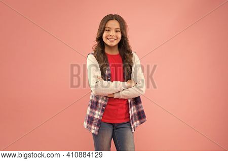 Happy Childrens Day. Smiling School Girl. Kid Long Curly Hair. Small Girl Wear Checkered Shirt. Happ