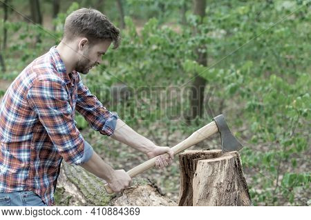 We Need Some More Firewood. Strong Man With Ax. Woodcutter. Ranch Man Carry Axe. Sexy Guy Wear Shirt