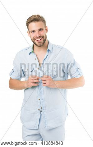 Man Bearded Macho Prepare Clothes For Date. Casual Comfortable Style. Fresh Shirt Concept. Style Ins
