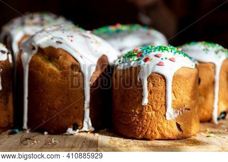 Many Traditional Eastern Europe Russian And Ukrainian Easter Cake Kulich Decorated With Sweet Sugar