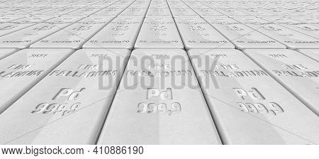 The Highest Standard Palladium Bars. Lots Of Ingots Of 999.9 Fine Palladium Lie In A Row. Background