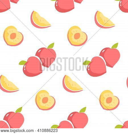 Seamless Pattern With Peach Fruit And Sliced Peaches. Repeat Design With Stylied Fruit Drawing