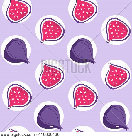 Seamless Pattern With Fig And Sliced Fig Fruits. Stylied Illustration With Fruits For Fabric Design