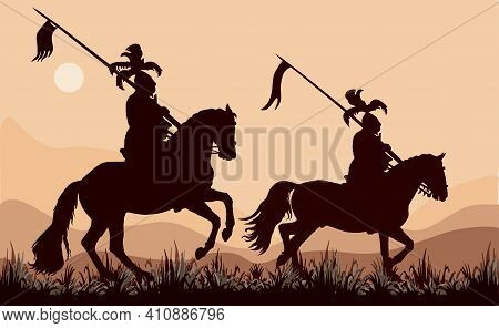Black Silhouettes Of Two Medieval Knights On Horseback, Against The Sky
