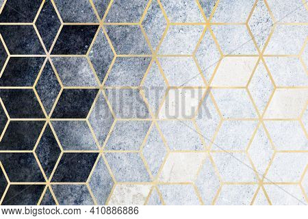 Abstract Blue Cubic Patterned Background High Quality