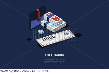 Vector Illustration In Cartoon 3d Style. Isometric Composition On Dark Background With Text And Obje