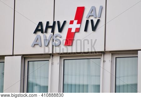 Zug, Switzerland - 26th February 2021 : Ahv Avs Iv Ai Swiss Pension And Invalidity Social Insurance