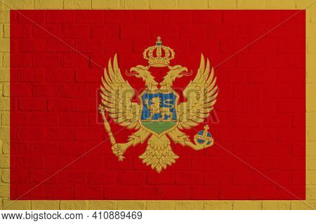 Flag Of Montenegro. Brick Wall Texture Of The Flag Of Montenegro.