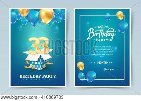 33 Rd Years Birthday Vector Invitation Double Card. Thirty Three Years Anniversary Celebration Broch