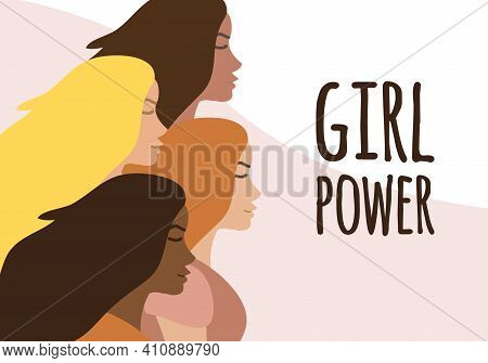 Vector Flat Banner With Different Women And Girl Power Lettering Isolated On Colored Background. Int