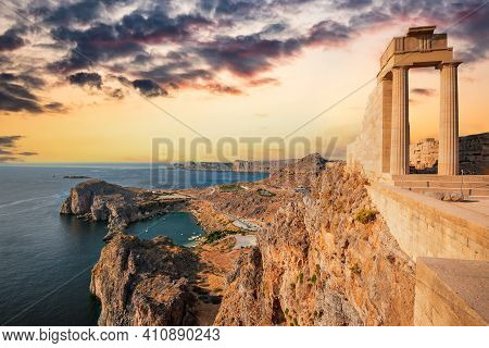 Rhodes, Greece. Lindos Small Whitewashed Village And The Acropolis, Scenery Of Rhodos Island At Aege