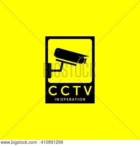 Emblem Of Cctv Secure Cam Logo Vector Design Vintage Illustration, Surveillance Protection, Cctv Gua