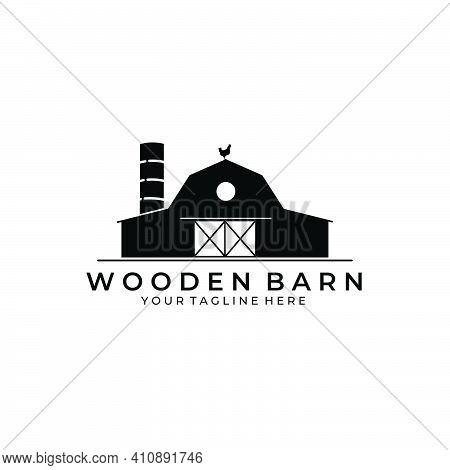Forest Wooden Barn House Logo Vector Illustration Design Vintage Icon
