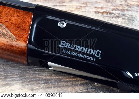 Fort Worth,texas- Feb. 2021  Closeup Of A A5 Browning Sweet 16 In16 Guage Shotgun. Was First Design