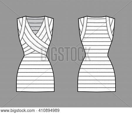 Bandage Dress Technical Fashion Illustration With V-neck, Sleeveless, Fitted Body, Elasticated, Mini