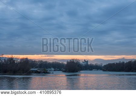 Cloudy Sunset Over Usce, The Confluence Between The Sava And The Danube (dunav) River And The Panora
