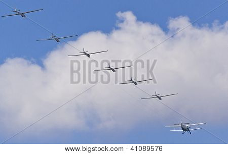 Gliders On A Tow At The Motor Plane