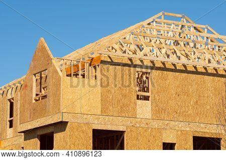 Rafters And Walls Of A Plywood House New Woodwork Work