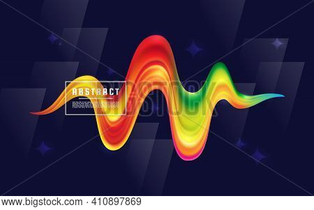 Unique Pulse Wave Flow, Pulse Medical On The Background Of A Colorful Brush Liquid