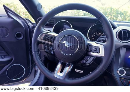 St Petersburg, Florida, U.s - February 16, 2021 - The Steering And Odometer Of The Brand New 2021 Fo