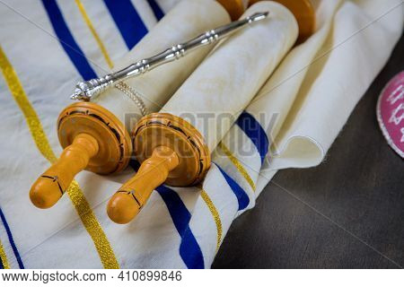 Jewish Orthodox Holidays, During Prayer Items Prayer Shawl Tallit With Torah Scroll In A Synagogue