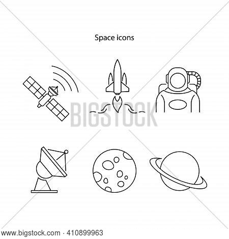 Space Icon Set Isolated On White Background. Space Icon Set Trendy And Modern Space Travel Symbol Fo