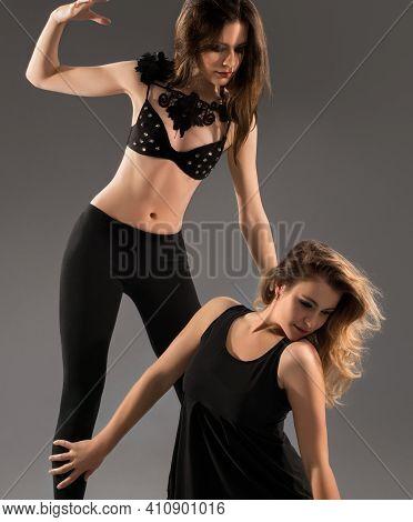 Hot Go-go Dancers In High Heels Dancing At Studio