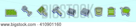Set Of Masonry Cartoon Icon Design Template With Various Models. Modern Vector Illustration Isolated
