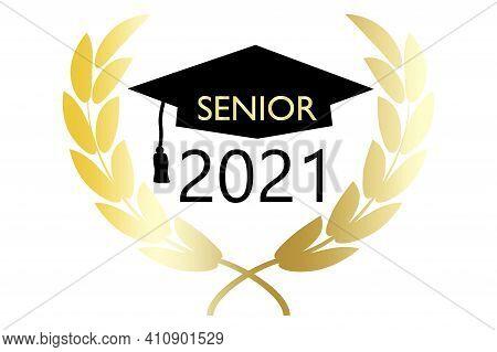 Banner With Senior 2021. Coronavirus Vector Illustration. 2021 Celebration Banner. Stock Image. Eps