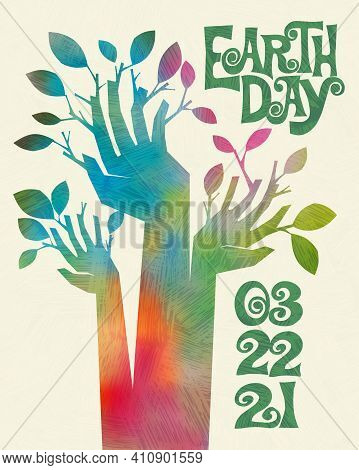 Earth Day retro design of raised hands sprouting branches and leaves. For posters, banners, social media, decor. For Earth Day, April 22, 2021. Vector illustration.