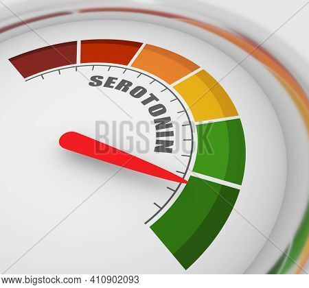 Gradient Scale. Hormone Serotonin Level Measuring Device. Sign Tachometer, Speedometer, Indicators.