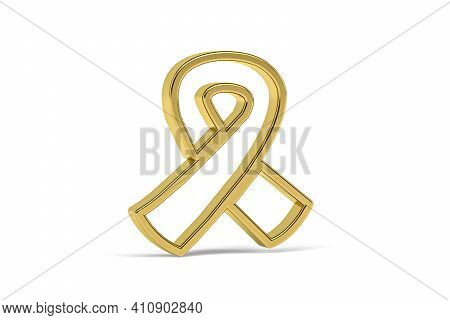 Golden 3d Mourning Ribbon Icon Isolated On White Background - 3d Render