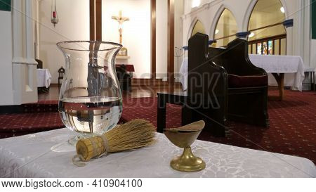 Holy Water For Funeral Service In A Religious Christian Or Catholic Chapel