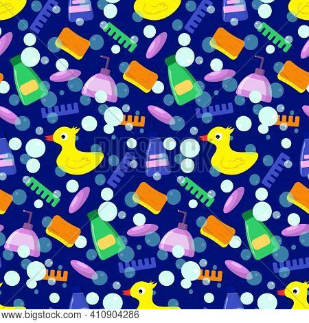 Rubber Duck With Shower Items. Childrens Pattern For Packaging, Fabrics, Brochures, And Various Desi