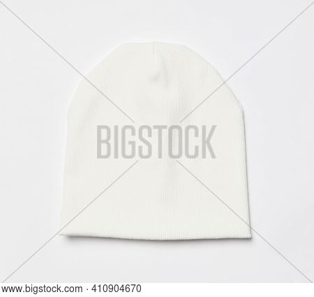 Modern Knitted White Beanie Hat, Knitwear Isolated On White