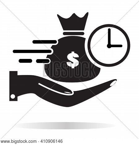 Quick And Easy Loan Icon On White Background. Flat Style. Fast Money Providence Sign. Easy Instant C