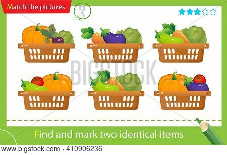 Find And Mark Two Identical Items. Puzzle For Kids. Matching Game, Education Game For Children. Bask