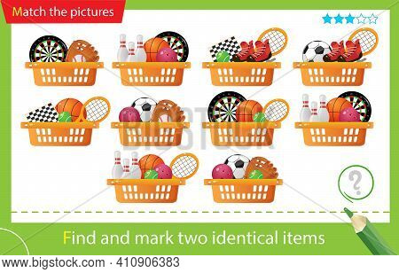 Find And Mark Two Identical Sets. Puzzle For Kids. Matching Game, Education Game For Children. Baske