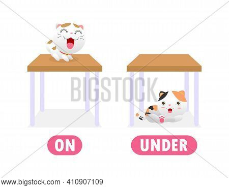 Opposite On And Under, Words Antonym For Children With Cartoon Characters Cute Little Cat, Funny Ani