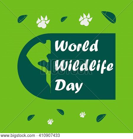 World Wildlife Day Vector Design Background,  Poster,  Banner, And Social Media Post. White Typograp