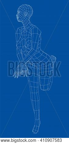 Wireframe Girl Posing In A Sexy Pose. Stands On Tiptoe, Lifted One Leg. Vector 3d Rendering