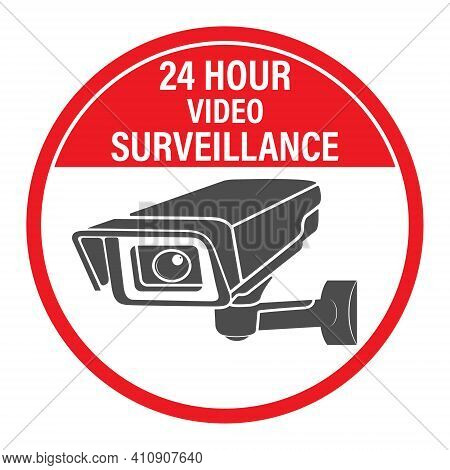 24 Hours Video Surveillance. Vector Video Surveillance Sign With The Inscription. Flat Style.